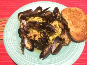 Drunken mussels with vegetable spaghetti!